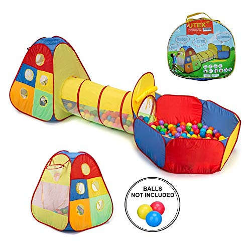 MXYPF 3pc Kids Play Tent Crawl Tunnel and Ball Pit, Folding Indoor Playhouse Outdoor Fence Beach Toys Gift for Girls Boys Toddlers
