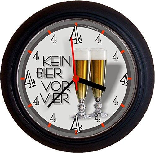 Lucky Clocks BIERUHREN KEIN Bier VOR Vier 4 PILS Geburtstag Wanduhren für jeden Anlass neutral