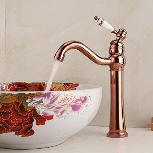 AMZH Grifos retro caliente y fría etapa lavabo grifo solo agujero cuarto de baño lavabo cuenca lleno de cobre grifo del fregadero , b