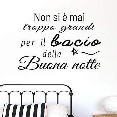 Adesivo da parete in vinile con frase in italiano'NON SI E MAI TROPPO GRANDI' adesivi murali frasi in italiano citazione, decorazione da parete, Wall Stickers, Art Sticker Decal Mural DC-18032