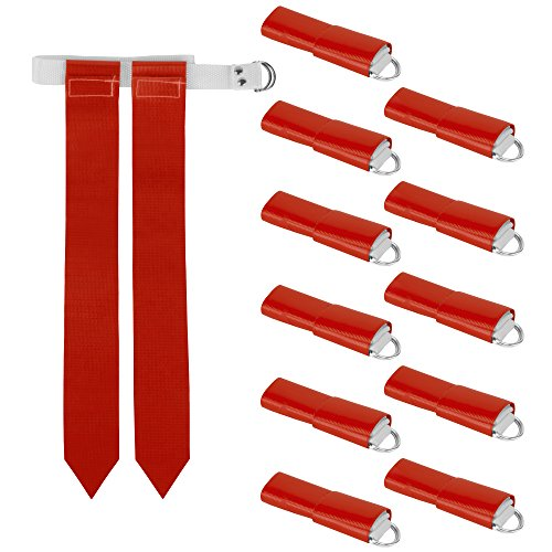 12-Pack Flag Football Team Set – Includes 12 Belts with 24 Flags, Accessories for Flag & Touch Games, Practices, Training by Crown Sporting Goods (12 Red)