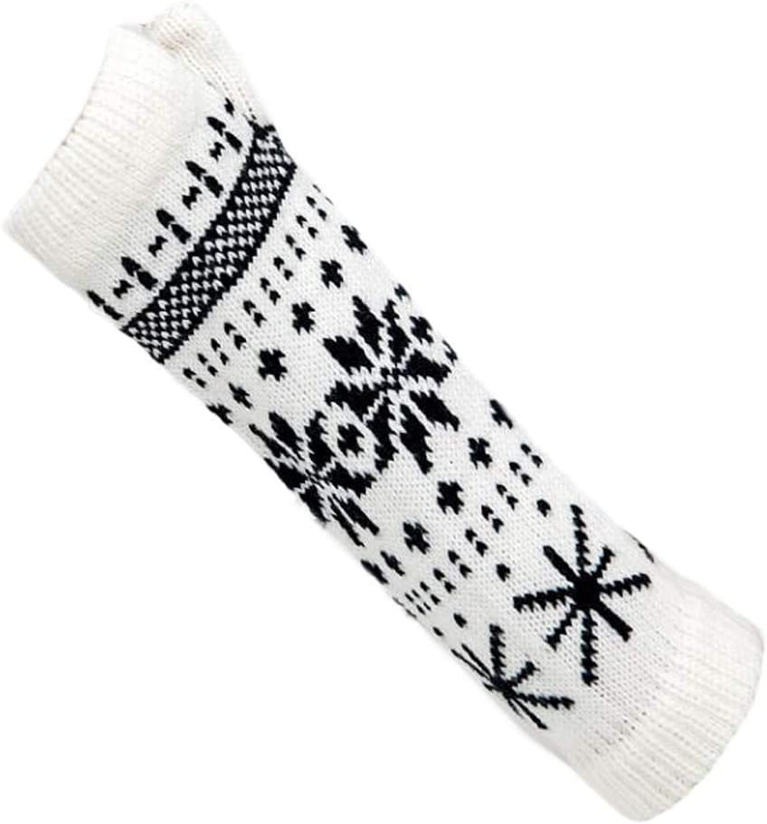 Panda Legends White and Black Winter Warm Arm Sleeve Fingerless Thumb Hole Gloves Mittens Knitted Snowflake Arm Warmer for Womens