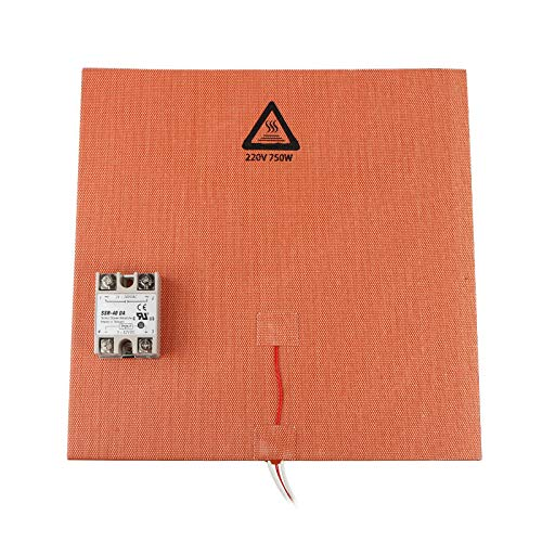 Printer Accessories 200 * 200mm 200V 500W Silicone Pad Heated Bed Heating Pad + SSR Solid State Relay Kit for 3D Printer