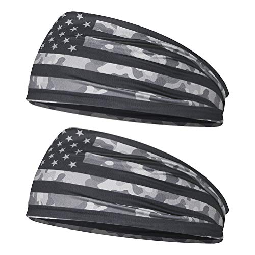 VORCOOL 2 Stück American Flag Stirnband Elastisches Stirnband Mode Unisex Headwrap Schnelltrocknende Kopfbedeckung für Sport im Freien Sport Requisiten (BXHF006)