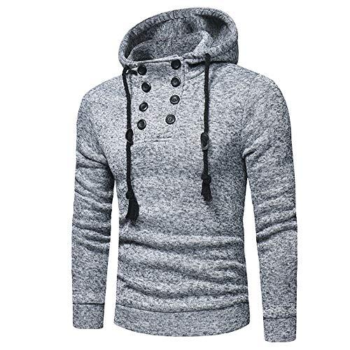 Herren-Pullover mit doppelreihiger Kapuze, sportlich, modisch, lässig Gr. XL, grau
