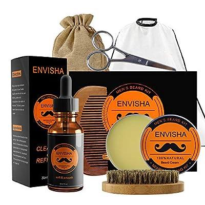 Beard Balm Set KOKOBI Beard Grooming Kit for Men-7 in 1 Beard Trimmer Includes- Beard Oil, Balm, Brush, Comb, Mustache Scissors, Beard Bib, Storage Bag-Beard Growth Care Gift for Dad Husband Boyfriend by KOKOBI