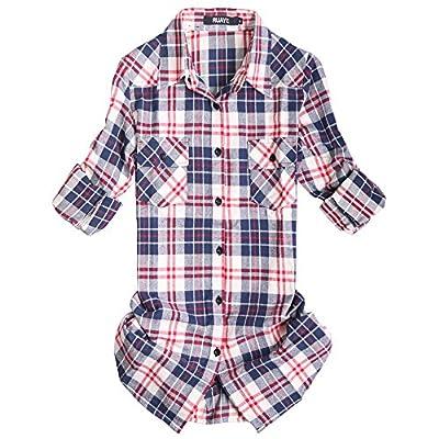 OCHENTA Women's Roll Up Sleeve Flannel Plaid Shirt