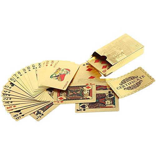 Liukouu Juego de Naipes Gold Foil Poker Baraja de Cartas Herramienta clásica...