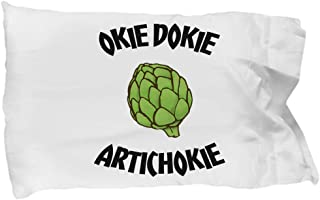 Multikdk007 Funny Gift for Artichokie Pillow Case, Okie Dokie Artichokie, Vegan Pillowcase, Vegetarian Gift Pillowcase, Veggie Lover Pillowcase, Healthy Saying Pi