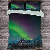 Toopeek Northern Lights Paquete de 3 (1 funda de edredón y 2 fundas de almohada) Southern Islandia en el cielo sobre Rocky Hills Wild Night View poliéster (King), verde lima, azul oscuro, violeta