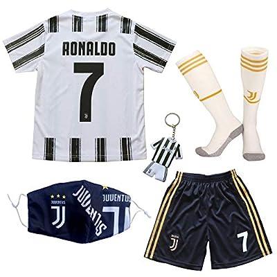 BIRDBOX Youth Sportswear C.Ronaldo 7 Kids Home Soccer Jersey/Shorts Bag Keychain Football Socks Set (24 (7-8 Years))