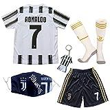 GamesDur 2020/2021 Neu Juve #7 Ronaldo Heim Weiß Kinder Fußballtrikot-Hose Set Jugendgrößen (Heim, 30)