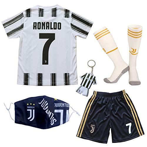 GamesDur 2020/2021 Neu Juve #7 Ronaldo Heim Weiß Kinder Fußballtrikot-Hose Set Jugendgrößen (Heim, 26)