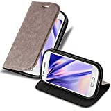 Cadorabo Book Case Compatible with Samsung Galaxy S3 Mini in Coffee Brown - with Magnetic Closure, Stand Function and Card Slot - Wallet Etui Cover Pouch PU Leather Flip