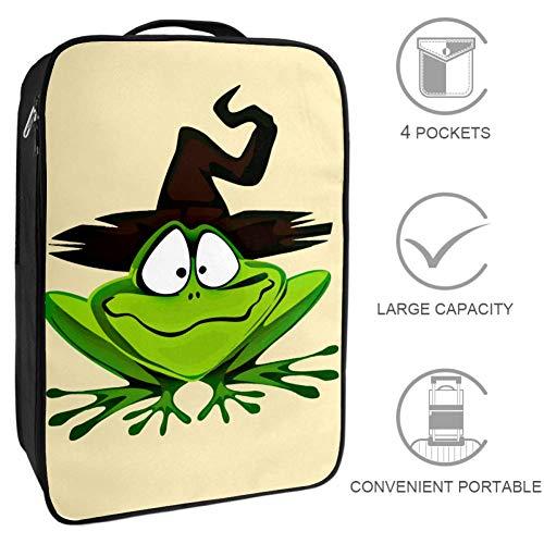 Grüner Frosch Mit Schwarzer Kappe Schuhbeutel für die Reise wasserdicht tragbar Schuh-Organizer für das Handgepäck Zubehörbeutel für 3 Paar Schuhe. 23x31x16cm