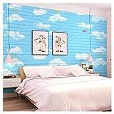 Papel Pintado De Ladrillo 3D, Panel de Pared 3D Ladrillo PE Espuma Efecto Cielo Azul Decorativo Decorado Habitación de los Niñs Impermeable DIY Pegatinas de Pared Papel Pintado (Size : 30pcs)