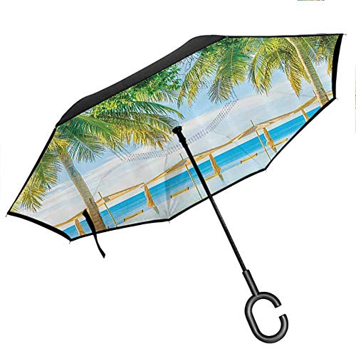 House Decor Double Layer Inside Out Folding Umbrella Tropical Beach with The Pool Nature with Soft Light Sun Rays Fantastic Holiday Theme Green Blue