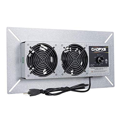 CADPXS DuraAir MFB Pro Crawlspace Ventilator Fan, Dual Fans Ventilator with dehumidistat + Freeze Protection Thermostat, for Ventilated Crawl Spaces, 220 CFM (Air Out)