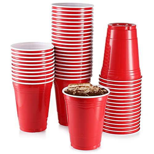 18 oz Red Plastic Cups, [50 Pack] Large Cups, Party Cup Disposable Cup Big Birthday Party Cups 18 oz