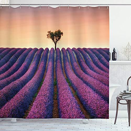 ABAKUHAUS Blumen Duschvorhang, Lavendel-Blumen-Feld, Wasser Blickdicht inkl.12 Ringe Langhaltig Bakterie & Schimmel Resistent, 175 x 200 cm, Lila