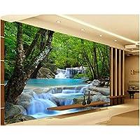 Iusasdz リビングルームの部屋の背景3D壁紙Hdフォレストリバー滝の背景壁の装飾絵画3D壁紙-250X175Cm