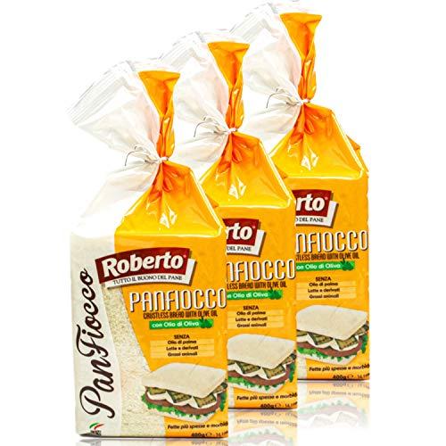 Roberto - 3er Pack Original italienisches Tramezzini Weißbrot mit Olivenöl - Weissbrot Tramezzone (Toast ohne Rand, Rinde) in 400 g Packung