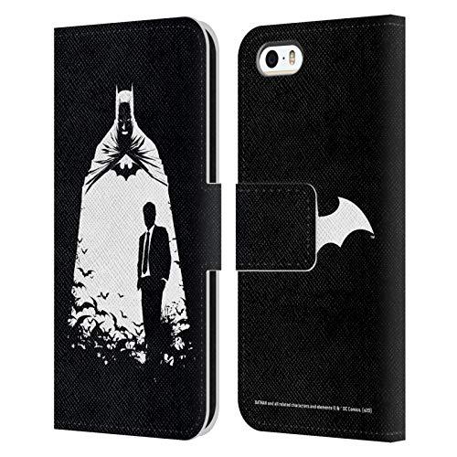 Head Case Designs Oficial Batman DC Comics Alter Ego murciélagos Dualidad Carcasa de Cuero Tipo Libro Compatible con Apple iPhone 5 / iPhone 5s / iPhone SE 2016