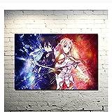 Tiiiytu Sword Art Online 2 Kirito Asuna Póster Impreso Imágenes De Anime para Dormitorio Decoración De Sala De Estar Arte De Pared -50X70Cm Sin Marco