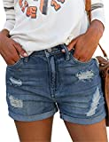 Angerella Cut Off Denim Shorts for Women White Juniors Frayed Button Fly Distressed Jean Shorts Blue XL