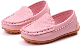 Boy's Penny Driving Loafer Girl's Bare Casual PU Leather Vamp Moccasins Kid's Boat Shoes (Color : Pink, Size : 5.5 UK Child)