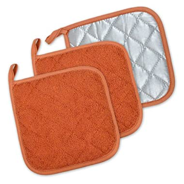DII Cotton Terry Pot Holders, 7x7   Set of 3, Heat Resistant and Machine Washable Hot Pads for Kitchen Cooking and Baking-Spice