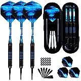 Sinwind Dardos Punta de Plastico para Diana Electrónica, 18g Dardos Diana Electronica de Profesionales con 50 Puntas y 20 O Ring (Azul)