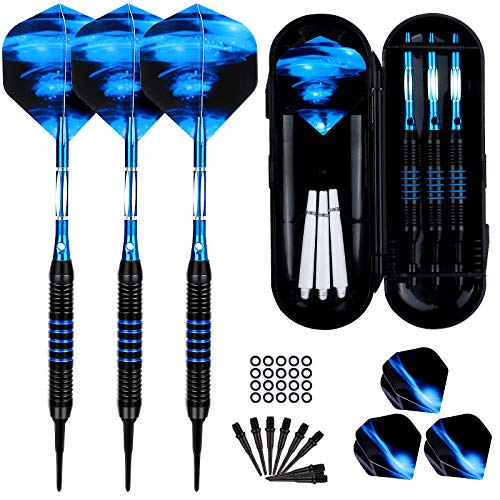 Sinwind Dartpfeile mit Kunststoffspitze für Elektronische Dartscheibe 3 Stück Soft Darts Pfeile Set, 18 Gramm Profi Softdarts Dartpfeil und Extra Schafts Flights Dartspitzen Anti-Lose Gummiringe
