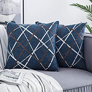 Woaboy Pack of 2 Decorative Throw Pillow Cover Chenille Line Woven Cushion Shams Durable and Soft Square Modern Pillowcases for Bed Sofa Couch Living Room 18x18inch Blue