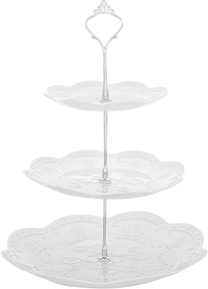 RosewineC 3-Tier Cake Stand,Plastic Cake Stand for Afternoon Tea,Tiered Wedding Dessert Stand,Party Food Server Display Holder(Round Silver Pole)