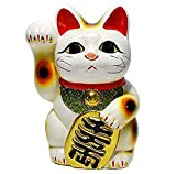招き猫 5号 白小判猫(右手) 常滑焼