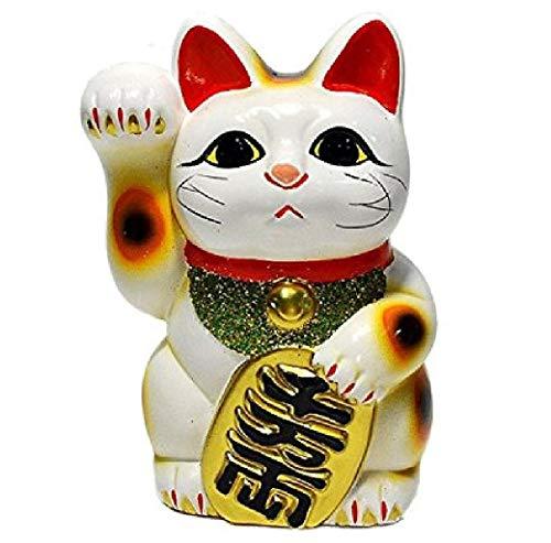 Made in Japan Lucky Cat 16cm Tokoname Porcelain White Maneki Neko Right Hand