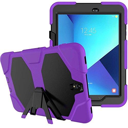 Lobwerk 3-in-1 outdoor tablet-hoes voor Samsung Galaxy Tab S3 9,7 inch (SM-T820 / SM-T825) schokbestendige hardcase en siliconenframe Tablet Hybrid lila