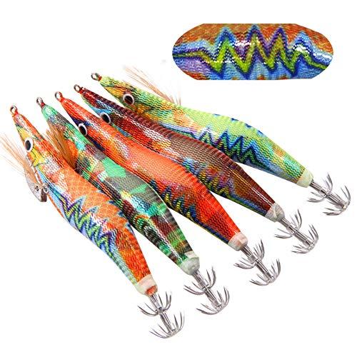 エギング エギ エギ釣りルアーセット 夜光エギ イカ タコ専用エギ イカ釣り 爆釣5色 ホログラムシール 2.5号 5本セット