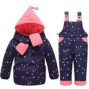 KISBINIキッズオーバーコート女の子ジャケット棉コートダウンコート上下セット子供ダウンジャケット防風防寒暖かいコート秋冬子供服(100センチメートル、ネイビー)