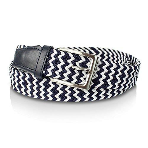 GLAMEXX24 Cintura Intrecciata Nastro Estensibile da Uomo e da Donna Unisex Bianco Blu 115cm