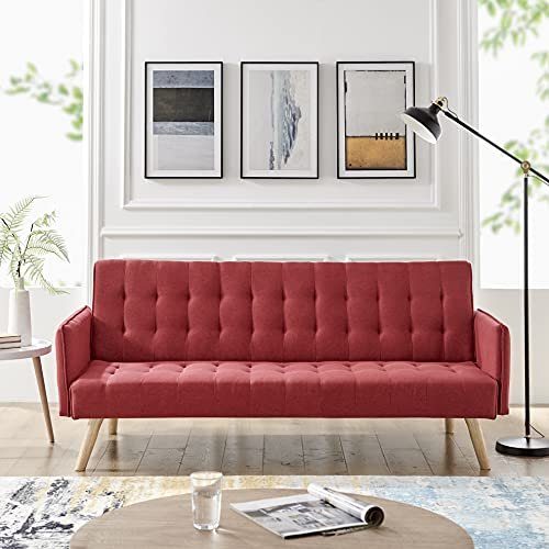 Scandi Scandinavian Style Chic Contemporary Sea RED Comfortable Three Seater Sofa Furniture Folding Click Clack Sofa Bed Fabric Cushions Settee Couch Solid Wooden Feet Fashionable Piping Detail