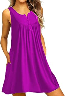 TIFENNY Women O Neck Casual Button Sleeveless Above Knee Dress Summer Fashion Loose Pocket Party Mini Dress Shirt Tops