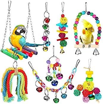 Laelr Ensemble Jouet De Cage De Perroquet Suspendu Balançoire Socle Suspendu Pont Cloche Corde Balançoire Oiseaux Jouets Cloche De Bois Coloré Perles