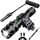 NULIPAM Tactical Flashlight with Pressure Switch, LED Weapon Light USB Rechargeable 1200 Lumens, 5...