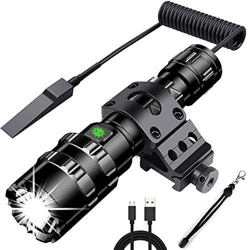 NULIPAM Tactical Flashlight with Pressure Switch, LED Weapon Light USB Rechargeable 1200 Lumens, 5 Modes Picatinny Mount for Camping, Hiking, Hunting, Outdoors
