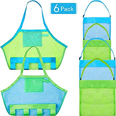 Gejoy 6 Pieces Mesh Beach Bag Colorful Sea Shell Bag Mesh Shell Tote Bag for Kids Beach Toys, 3 Size and 2 Colors