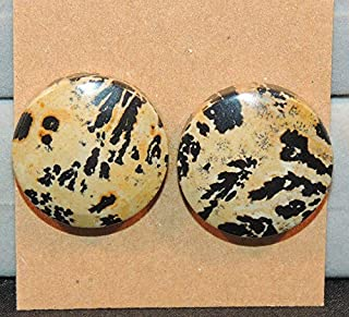 Chinese Writing Stone Cabochons 20mm with 6mm Dome Set of 2 DWK-5396