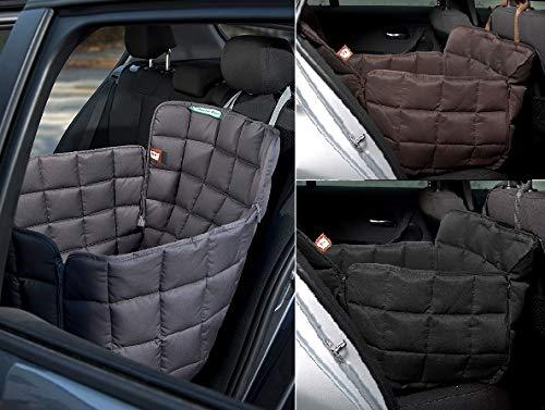 Doctor Bark Hunde 1-Sitz-Autoschondecke für die Rücksitzbank, All-Side Schutz mit Reißverschluss für alle PKWs und SUVs, L in Schwarz