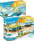 PLAYMOBIL® Family Fun Set de 2 Juegos 70436 70438 Coche de Playa con Remolque para Canoa + Barco de Vela